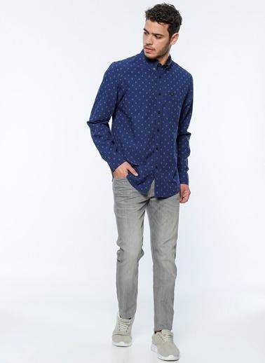 Oxford Yaka Desenli Uzun Kollu Gömlek-Lee